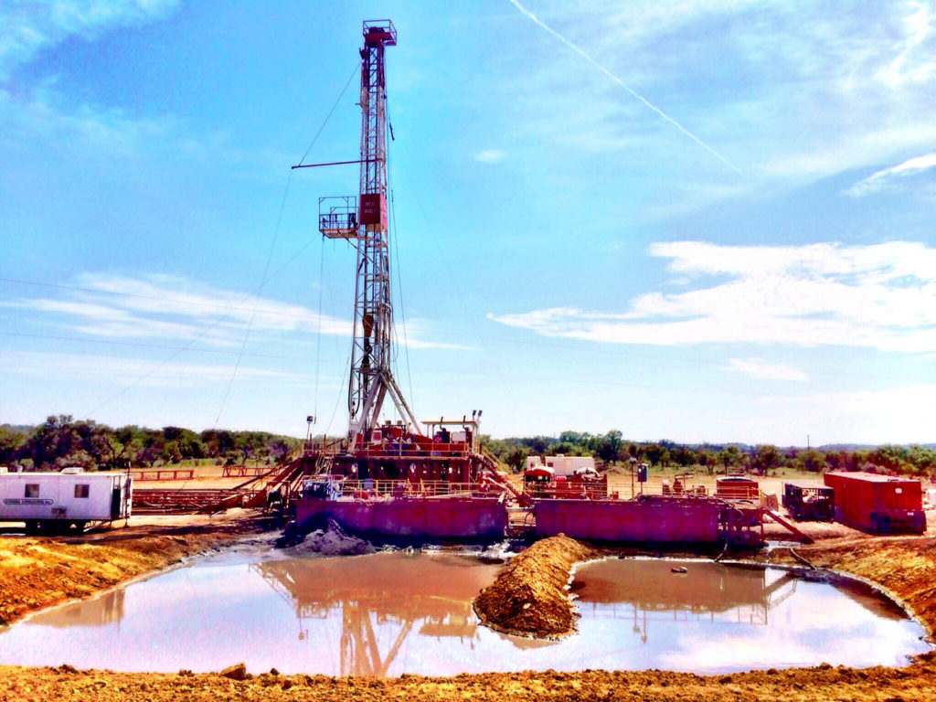 An oil drilling rig in Archer County, Texas, owned and operated by MCG Drilling & Completing.