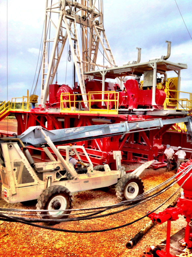 Oil drilling machinery and trucks owned by MCG Drilling & Completing.
