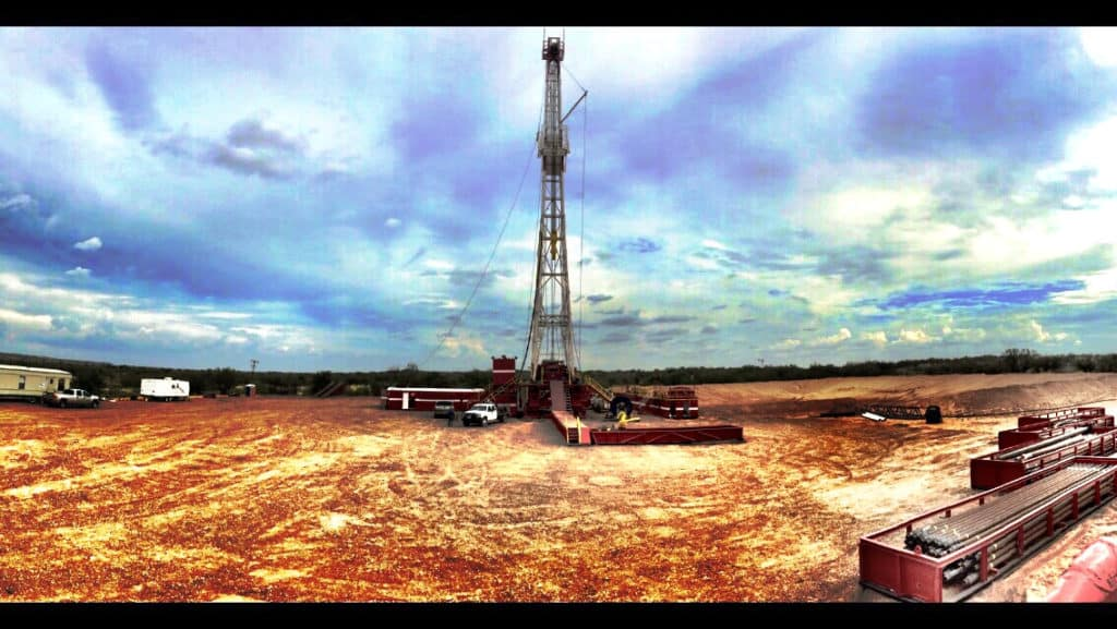 Panoramic shot of oil drilling rig owned by MCG Drilling & Completing LLC.