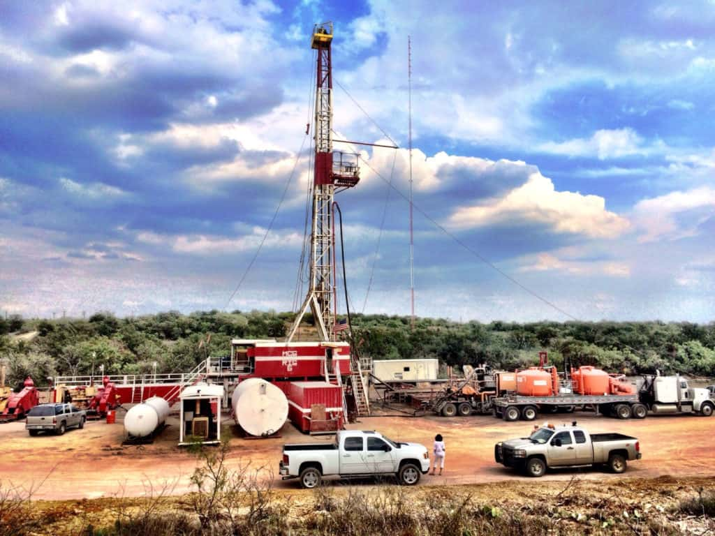 A view of rig #6 on site in Archer county, Texas.