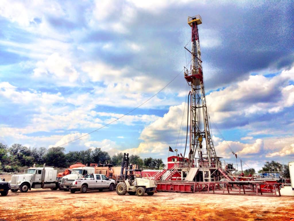 Oil rig during drilling job by MCG Drilling & Completing LLC.