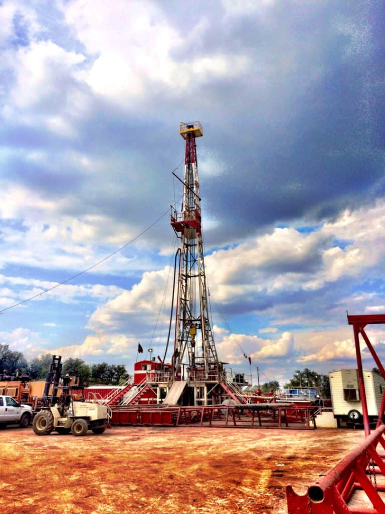 Oil drilling rig in Archer City, Texas.